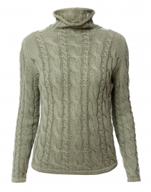 Sage Green Cotton Cable Knit Sweater