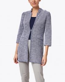 Amina Rubinacci - Edra Navy and White Cotton Long Knit Jacket