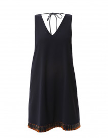 Navy Beaded Techno Crepe Cady Dress