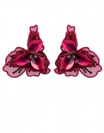 Poppy Red Flower Stud Earrings