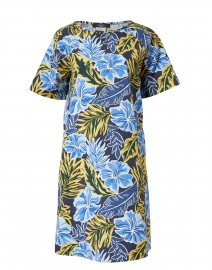 Cabreo Yellow and Blue Palm Print Cotton Dress