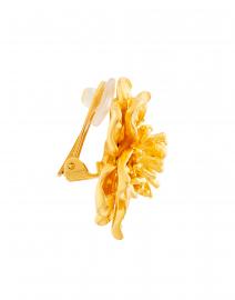 Kenneth Jay Lane - Satin Gold Magnolia Flower Clip On Earrings