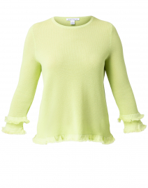 Apple Green Cotton Ruffle Sleeve Sweater