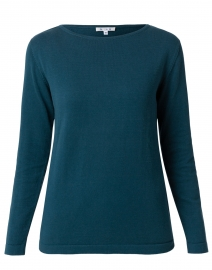 Petrol Green Pima Cotton Boatneck Sweater