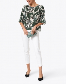 Weekend Max Mara - Avori White and Green Palm Print Silk Top