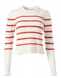 Danon Vermillion Red Stripe Linen Cotton Sweater