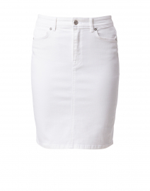 White Denim Zip Up Skirt
