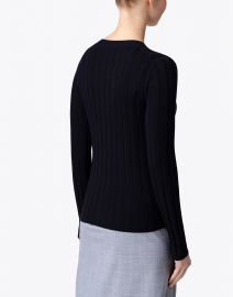 Allude - Navy Ribbed Sweater with Buttons