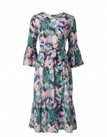 Pia Blue and Pink Floral Print Silk Crepe Dress