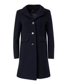 Pece Navy Wool Notch Collar Coat