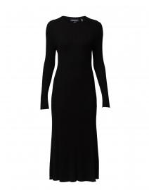 Black Ribbed Knit Cotton Dress