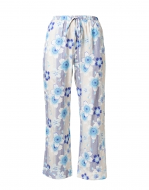 Blue Floral Cotton Cropped Pull-On Pant