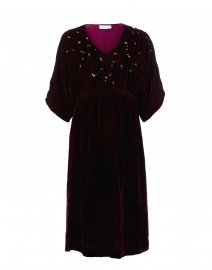 Burgundy Embroidered Velvet Dress
