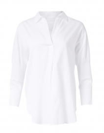 White Cotton Blouse with Sleeve Detailing