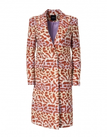 Lilac and Rust Leopard Lurex Jacquard Overcoat