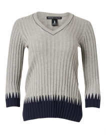Grey and Navy Ribbed Cotton Top
