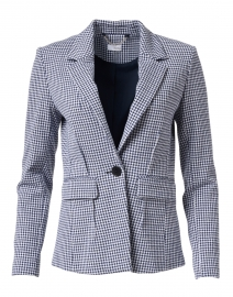Navy and White Dotted Check Stretch Cotton Jacket