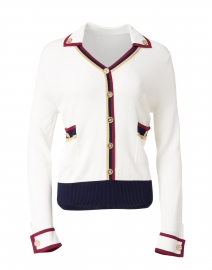 White, Navy and Red Polo Sweater