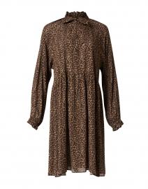 Brown Animal Print Crepe Dress