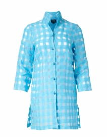 Rita Aqua Sheer Plaid Linen Shirt