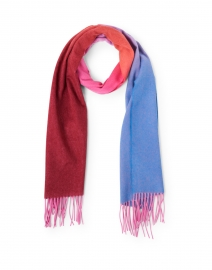 Red & Blue Ombre Cashmere Scarf