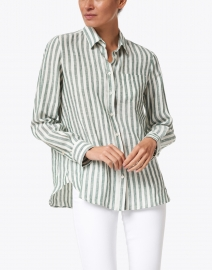Weekend Max Mara - Guinea Green and White Stripe Linen Shirt