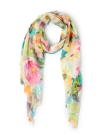 Multicolor Flower Market Print Silk and Cashmere Scarf