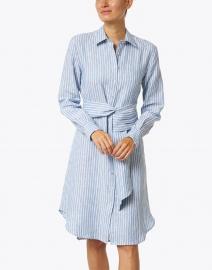120% Lino - Blue and White Stripe Linen Shirt Dress