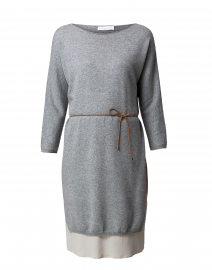 Grey Knit Dress with Underlayer