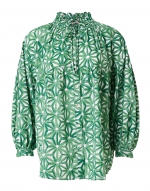 Reina Green Floral Printed Cotton Shirt