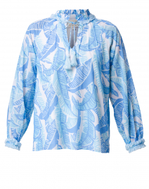 Blue and White Palm Print Cotton Top