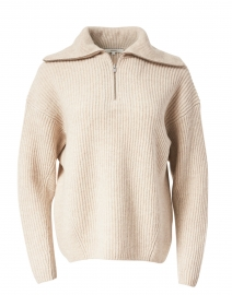 Beige Collared Ribbed Sweater