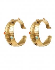 Leontia Gold Studded Small Hoop Earrings