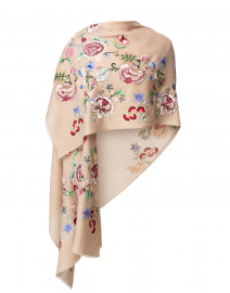 Floral Bud Embroidered Wool Scarf
