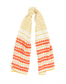 Coral and Mustard Yellow Striped Silk Scarf