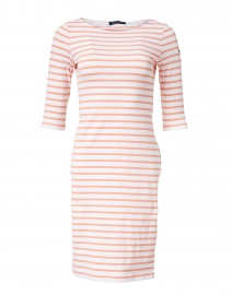 Propriano White and Coral Striped Jersey Dress