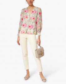 Ecru - Green and Pink Watercolor Floral Chiffon Blouse
