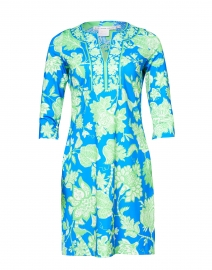 Blue and Lime Floral Printed Jersey Dress