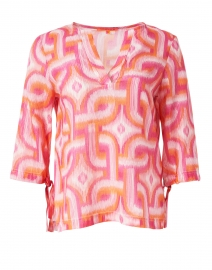 Vilagallo - Analissa Pink and Orange Ikat Lurex Cotton Blouse