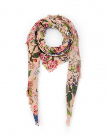Pale Pink Floral Wool and Cashmere Scarf