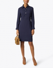 Caliban - Navy Henley Shirt Dress