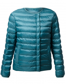 Beirut Blue Puffer Jacket with Neck Tie