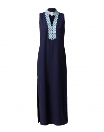 Navy Maxi Tunic Dress with Blue Trim
