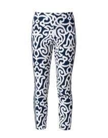 Navy and White Mosaic Printed Pull On Pant
