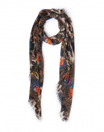Tarth Leopard Printed Floral Border Wool and Silk Scarf