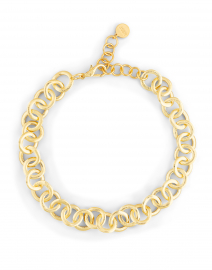Brushed Gold Circle Chain Link Necklace
