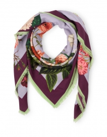 Ophelia Lavendar Floral Wool and Cashmere Scarf