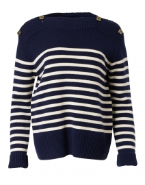 Poete Navy and White Striped Wool Sweater