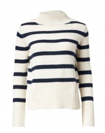 Venice Ivory and Navy Striped Cashmere Sweater