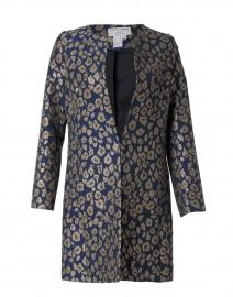 Alice Gold and Blue Metallic Leopard Jacquard Jacket